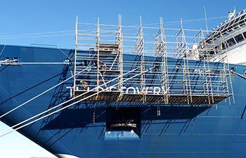 Cruise ship repair in dry dock