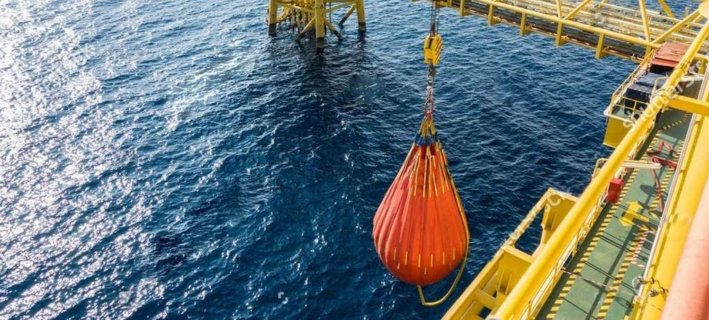 Crane testing water bags.