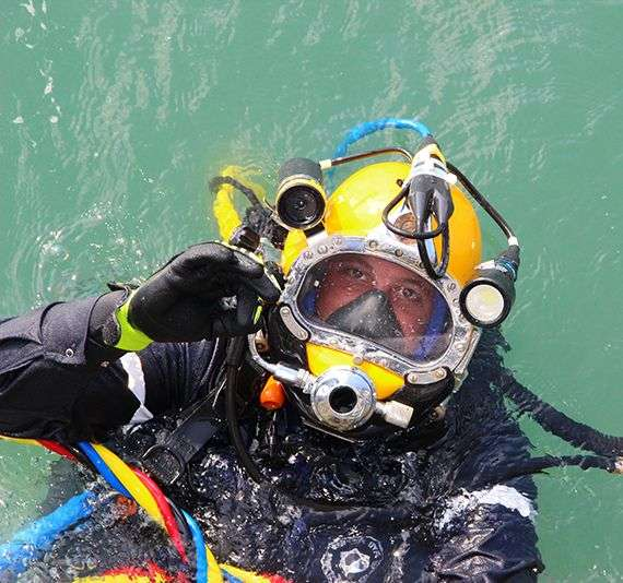 Technical diver work on cruise ship