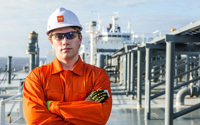 Dry dock repair workers